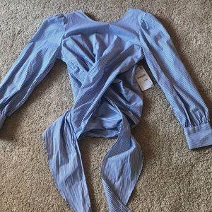 Zara striped back tie-waist top